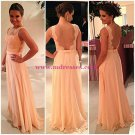 A-Line Chiffon Lace See Through Back Long Prom Evening Formal Dresses 133