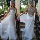 Beaded Sequins Long White Prom Evening Formal Dresses 138