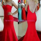 Trumpet/Mermaid Beaded Long Red Prom Dresses Evening Gowns 140