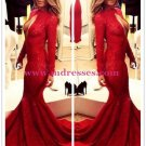 Red Mermaid Lace Long Sexy High Neck Prom Evening Formal Dresses 144
