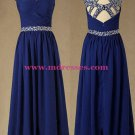 Long Royal Blue Beaded Straps Sleeveless Chiffon Prom Evening Formal Dresses 146