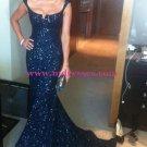 Navy Blue Mermaid Sequins Straps Sleeveless Long Prom Evening Formal Dresses 149