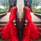 Long Red Off-the-Shoulder Prom Evening Formal Dresses 156
