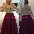 Gold Purple Beaded Appliques Top See Through Back Long Prom Evening Formal Dresses 158