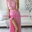 Two Pieces Lace See Through Top Chiffon Pink Prom Evening Formal Dresses 164