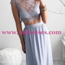 Two Pieces Lace See Through Top Chiffon Prom Evening Formal Dresses 165