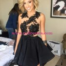 Black Lace Appliques Short Homecoming Cocktail Prom Evening Dresses 166