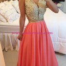 Gold Coral Long See Through Prom Evening Formal Dresses 167