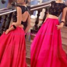Two Pieces Black Lace Top Long Prom Evening Formal Dresses 168
