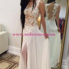 Long White Lace Appliques Long Prom Evening Formal Dresses 173