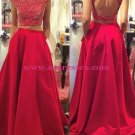 Two Pieces Off-the-Shoulder Red Beaded Long Prom Evening Formal Dresses 175