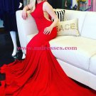 Trumpet/Mermaid Long Red Prom Evening Formal Dresses 178