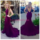 Purple Low V-Back Mermaid Long Prom Evening Formal Dresses 179