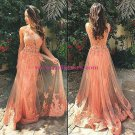 Sexy Lace Appliques Tulle Long Prom Dresses Evening Gowns 182