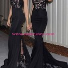 Black Lace Mermaid Halter Neck Long Prom Evening Formal Dresses 183