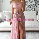 Two Piece Prom Dresses Lace Off-the-Shoulder Short Sleeves Slit Evening Gowns 192