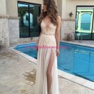 Lace V-Neck Prom Dresses Thigh-High Slit Sexy Evening Gowns 193
