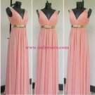 Column V-Neck Beaded Long Chiffon Prom Dresses Evening Gowns 194