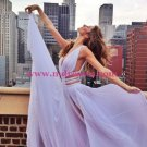 Lilac V-Neck Prom Dresses Long Chiffon Evening Gowns 197