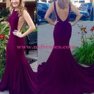 Sexy Low V-Back Mermaid Long Prom Dresses Evening Gowns 199