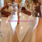Mermaid Lace Appliques See Through Long Prom Dresses Evening Gowns 200