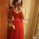 V-Neck Straps Sleeveless Long Red Chiffon Bridesmaid Prom Dresses Evening Gowns 205
