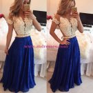A-Line Short Sleeves Lace Chiffon Royal Blue White Long Prom Dresses Evening Gowns 206