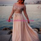 Beaded Long Sleeves Chiffon Prom Dresses Evening Gowns 210