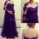 Long Sleeves Purple Lace Maternity Dresses Evening Gowns 216
