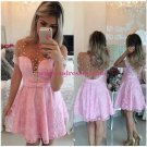 Short Sleeves See Through Pink Sexy Homecoming Prom Dresses Evening Gowns 219