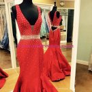 Long Red Beaded Trumpet/Mermaid Prom Dresses Evening Gowns 220