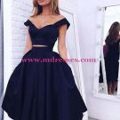 Two Pieces Off-the-Shoulder Navy Blue Bridesmaid Prom Dresses Evening Gowns 223