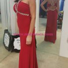 Sheath Beaded Long Red Chiffon Prom Dresses Evening Gowns 229