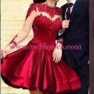 Short Red High Neck Long Sleeves Sheer Lace Satin Homecoming Dresses Evening Gowns 234