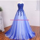 A-Line Sweetheart Lace Appliques Long Blue White Prom Dresses Evening Gowns 236