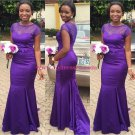 Mermaid Cap Sleeves Long Purple Prom Dresses Party Evening Gowns 240