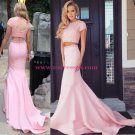 Two Pieces Pink Keyhole Back Prom Evening Formal Dresses L002