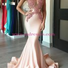 Sexy Mermaid Pink Lace Long Prom Evening Formal Dresses L098
