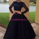 Long Sleeves Two Pieces Black Prom Dresses Party Evening Gowns 246