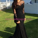 Long Black Mermaid Illusion Neckline Lace Long Sleeves Prom Dresses Party Evening Gowns 247
