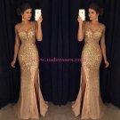 Mermaid  V-Neck Gold Sequins Beads Long Prom Dresses Party Evening Gowns 249