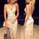 Sexy Lace V-Neck Side Slit Backless Prom Dresses Party Evening Gowns 254