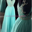 Beaded Illusion Neckline Long Blue Prom Dresses Party Evening Gowns 255