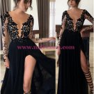 Long Black Lace Chiffon Prom Dresses Party Evening Gowns 257