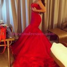 Mermaid Sweetheart Long Red Prom Dresses Party Evening Gowns 258