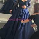 Long Sleeve Navy Off-the-Shoulder Lace Prom Dresses Party Evening Gowns 263