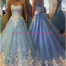 Long Blue Lace Prom Dresses Party Evening Gowns 265