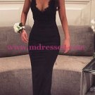 Long Black V-Neck Prom Dresses Party Evening Gowns 269