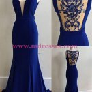 Mermaid Long Blue Prom Dresses Party Evening Gowns 271