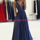 Long Blue Low V-Neck Prom Dresses Party Evening Gowns 274